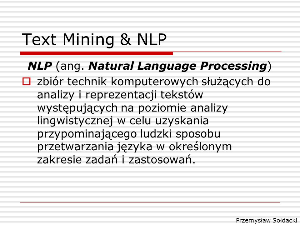 NLP (ang. Natural Language Processing)