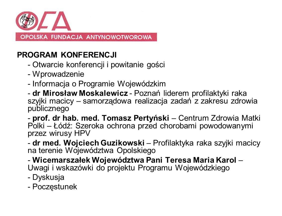 PROGRAM KONFERENCJI- Otwarcie konferencji i powitanie gości. - Wprowadzenie. - Informacja o Programie Wojewódzkim.