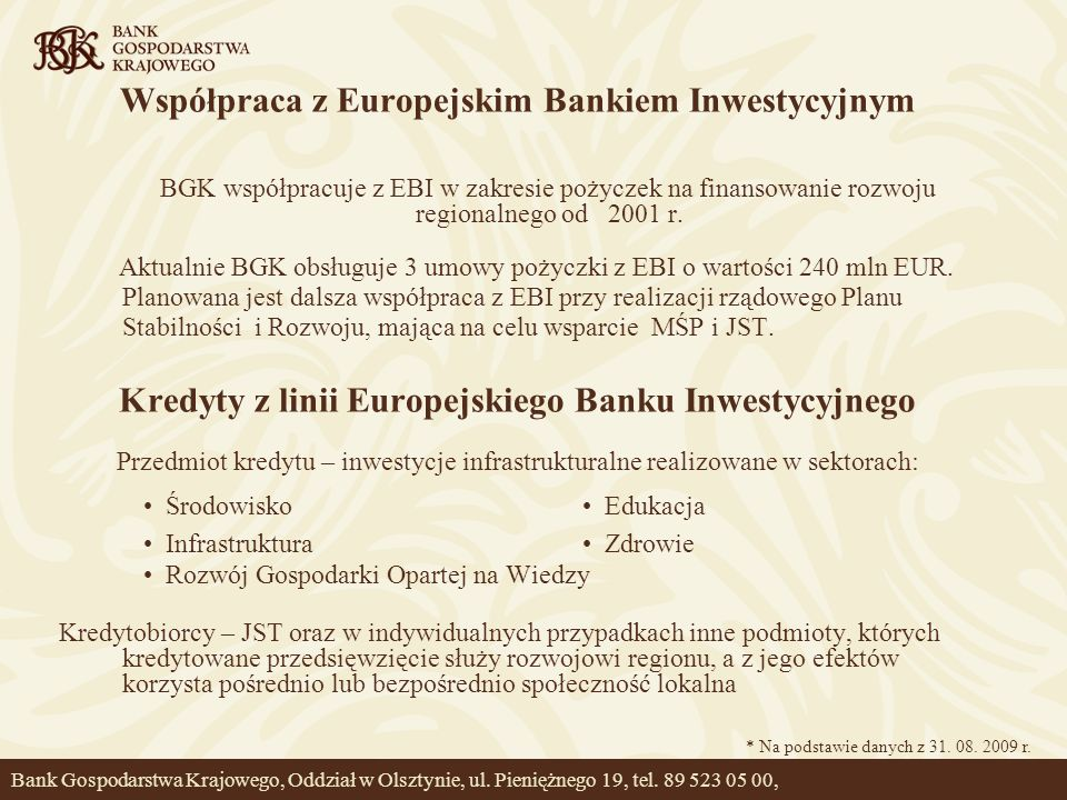 Współpraca z Europejskim Bankiem Inwestycyjnym
