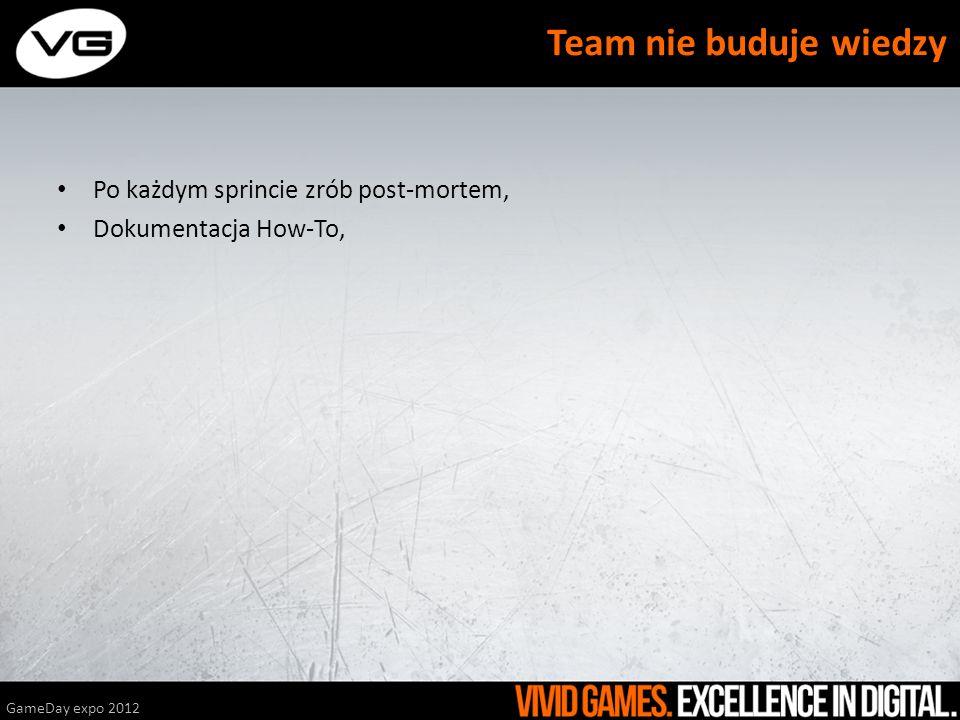 Team nie buduje wiedzy Po każdym sprincie zrób post-mortem,