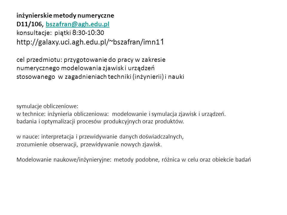 inżynierskie metody numeryczne