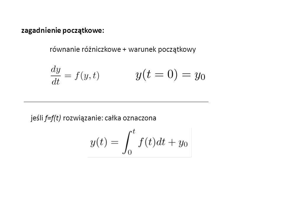 zagadnienie początkowe: równanie różniczkowe + warunek początkowy