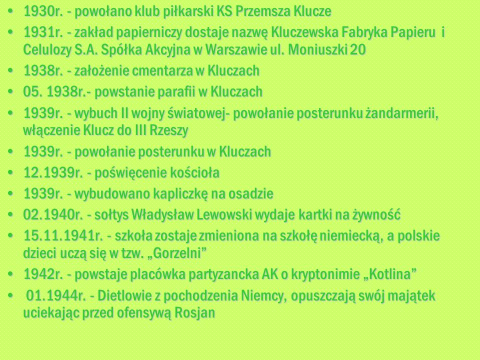 1930r. - powołano klub piłkarski KS Przemsza Klucze