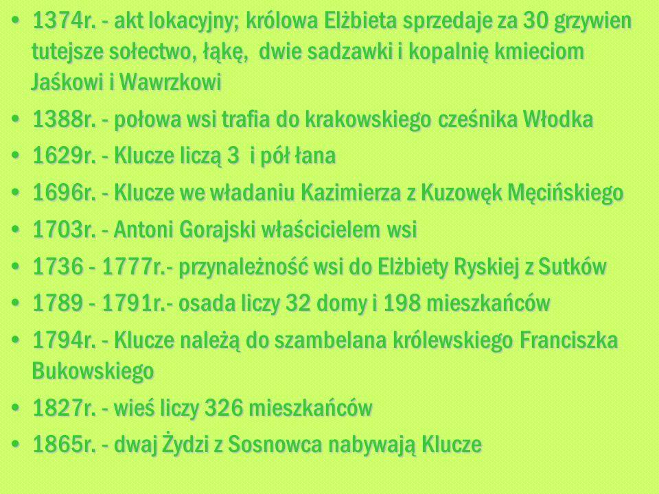 1374r. - akt lokacyjny; królowa Elżbieta sprzedaje za 30 grzywien tutejsze sołectwo, łąkę, dwie sadzawki i kopalnię kmieciom Jaśkowi i Wawrzkowi