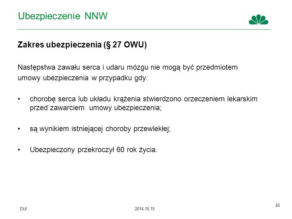 Ubezpieczenie NNW Zakres ubezpieczenia (§ 27 OWU)