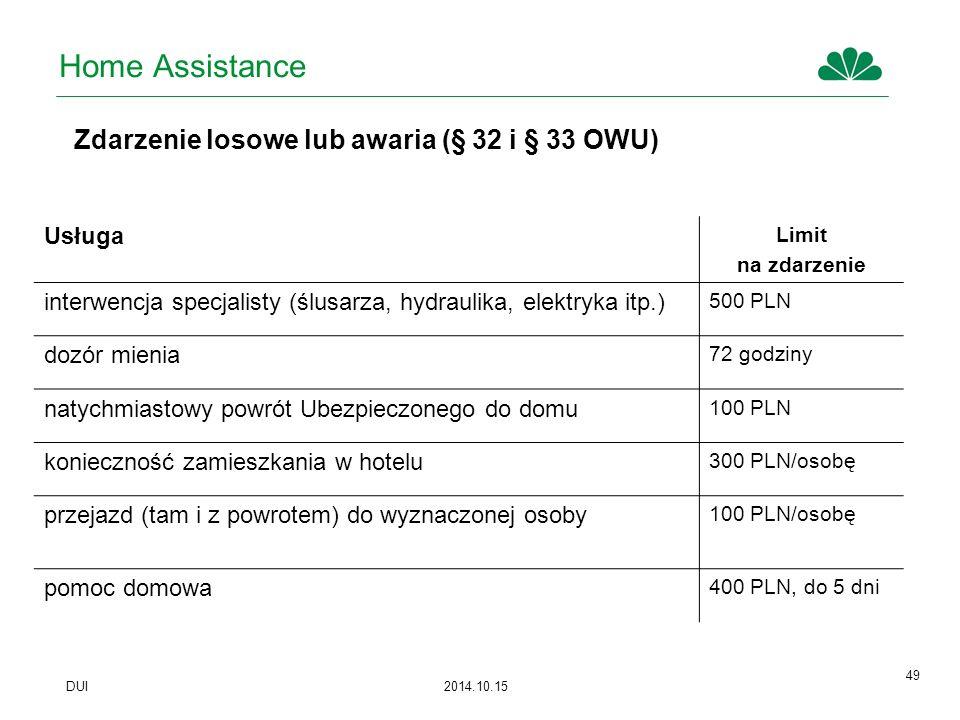 Home Assistance Zdarzenie losowe lub awaria (§ 32 i § 33 OWU) Usługa