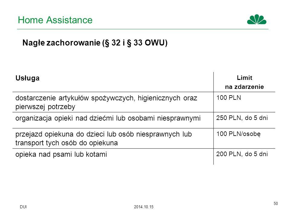 Home Assistance Nagłe zachorowanie (§ 32 i § 33 OWU) Usługa