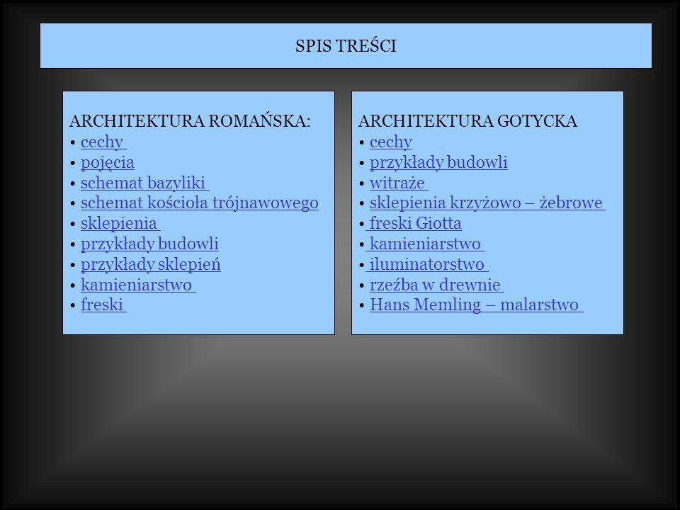 SPIS TREŚCI ARCHITEKTURA ROMAŃSKA: cechy. pojęcia. schemat bazyliki. schemat kościoła trójnawowego.