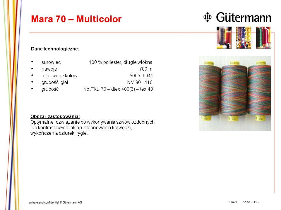 Mara 70 – Multicolor Dane technologiczne: