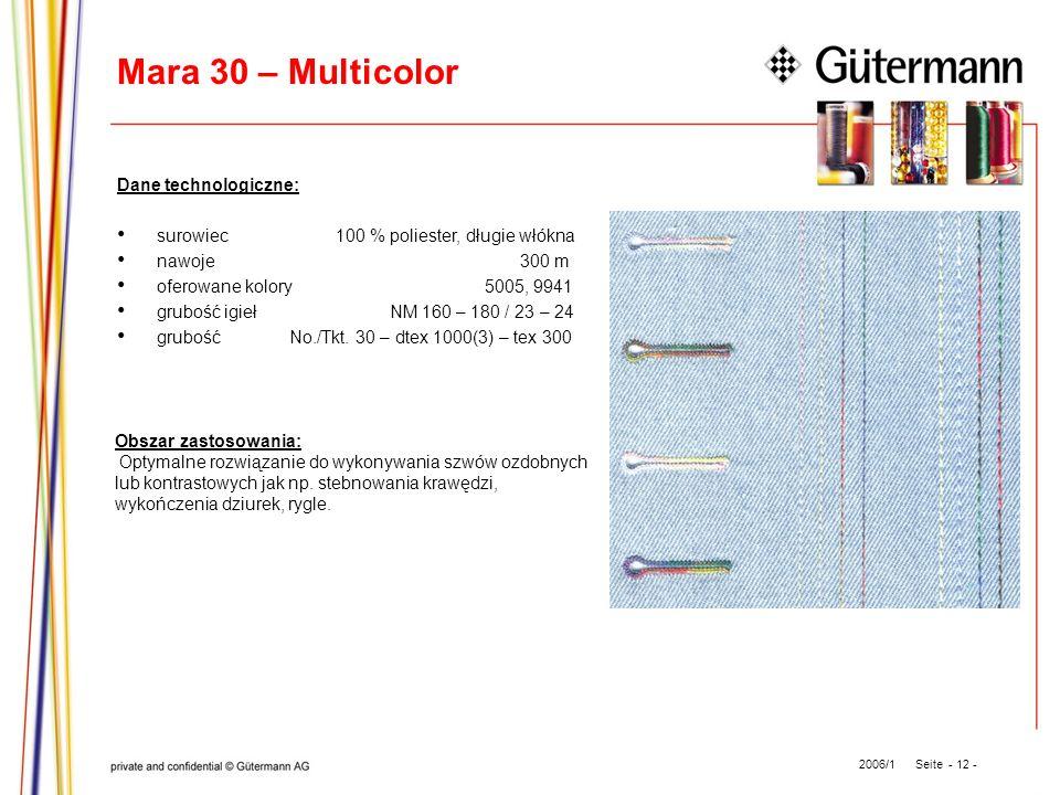 Mara 30 – Multicolor Dane technologiczne: