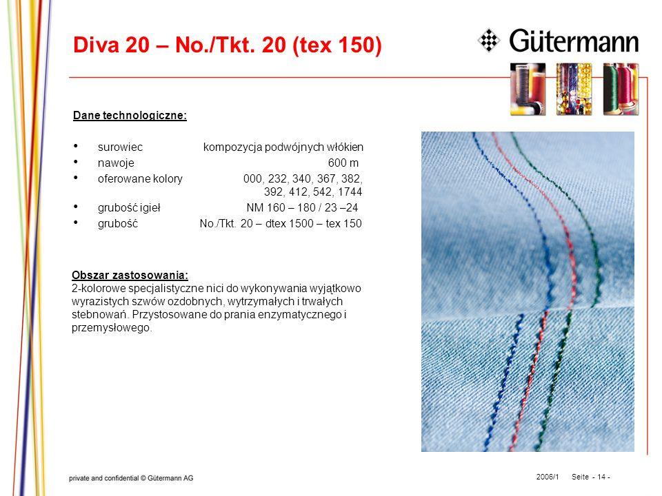 Diva 20 – No./Tkt. 20 (tex 150) Dane technologiczne: