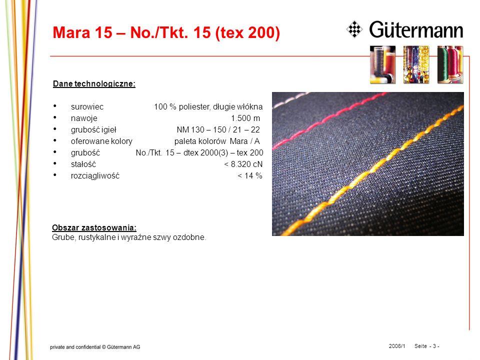 Mara 15 – No./Tkt. 15 (tex 200) Dane technologiczne: