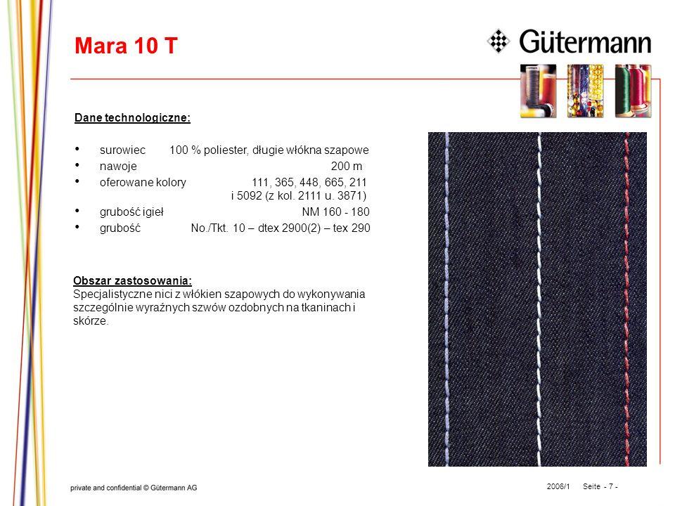 Mara 10 T Dane technologiczne: