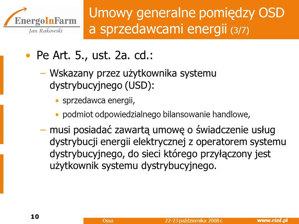 Umowy generalne pomiędzy OSD a sprzedawcami energii (3/7)