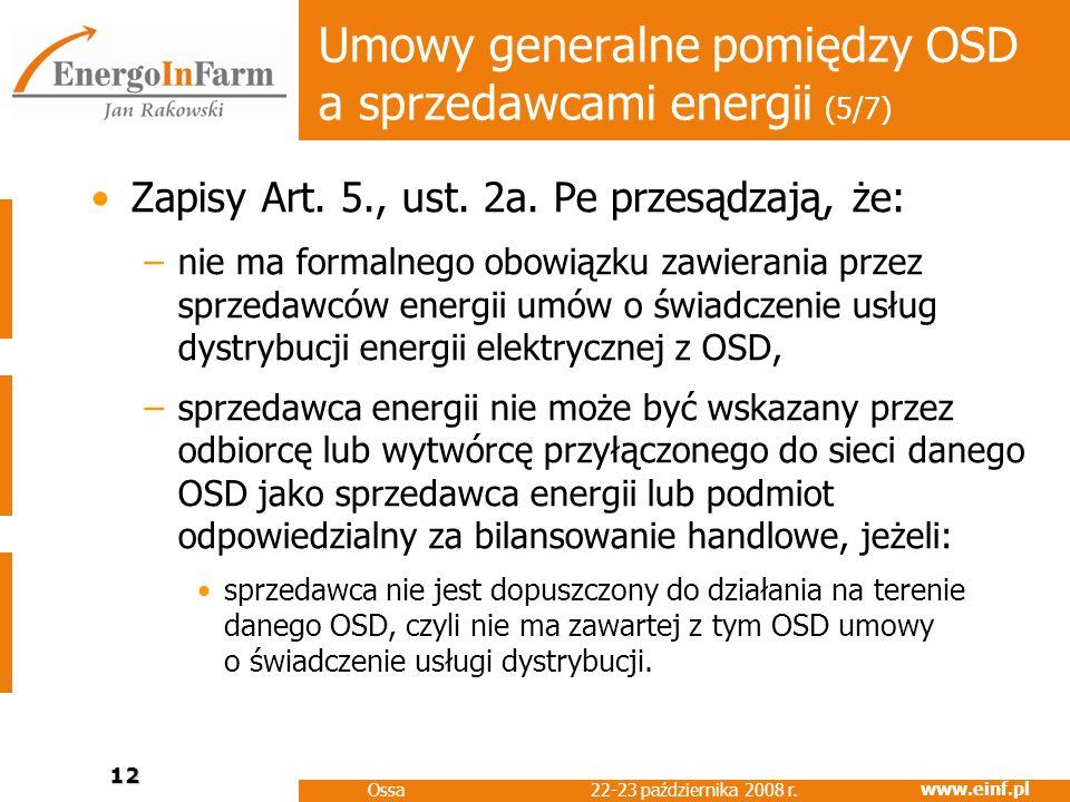 Umowy generalne pomiędzy OSD a sprzedawcami energii (5/7)