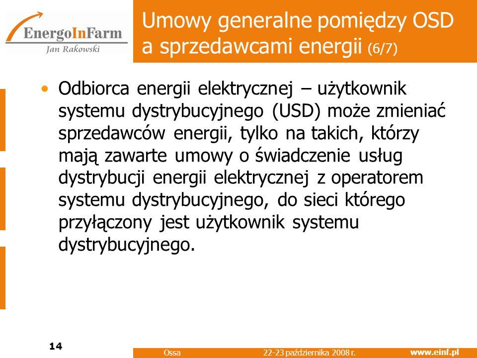 Umowy generalne pomiędzy OSD a sprzedawcami energii (6/7)