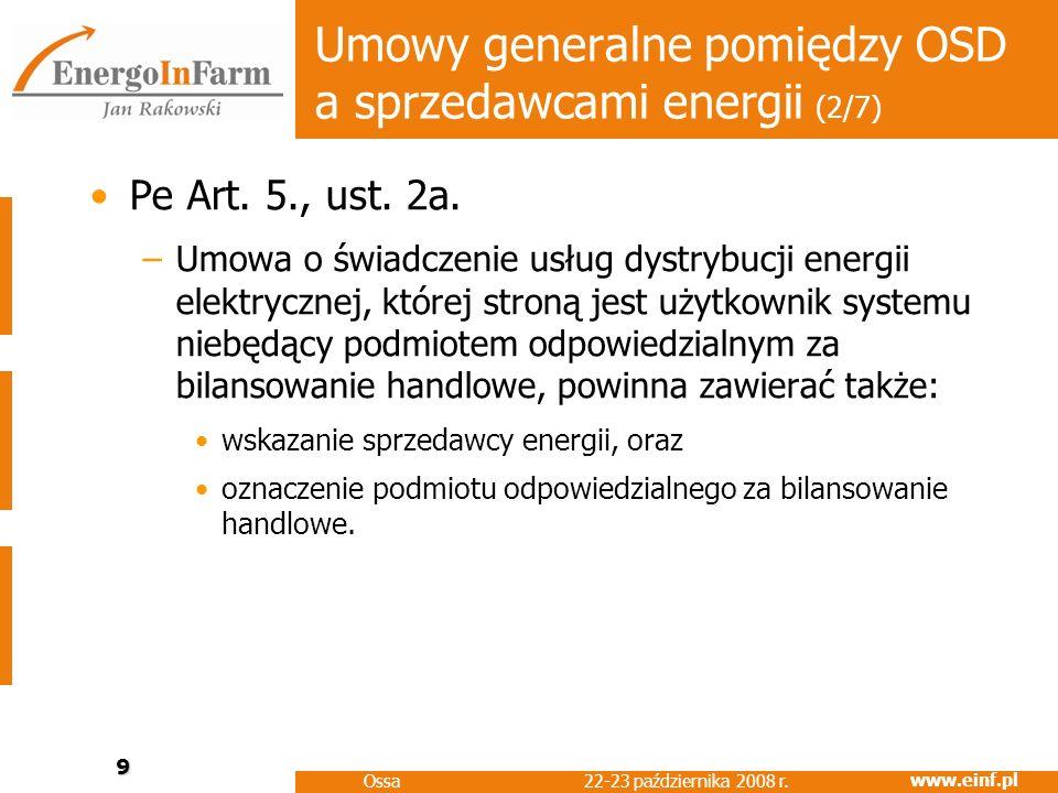 Umowy generalne pomiędzy OSD a sprzedawcami energii (2/7)