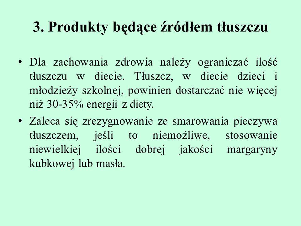 3. Produkty będące źródłem tłuszczu