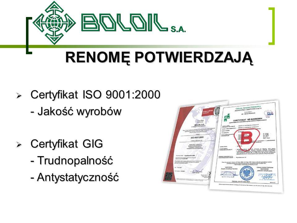 RENOMĘ POTWIERDZAJĄ Certyfikat ISO 9001:2000 - Jakość wyrobów