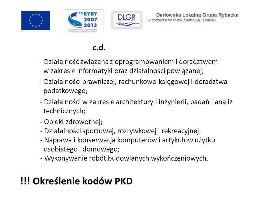 !!! Określenie kodów PKD c.d.
