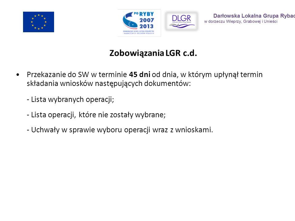Zobowiązania LGR c.d. Przekazanie do SW w terminie 45 dni od dnia, w którym upłynął termin składania wniosków następujących dokumentów: