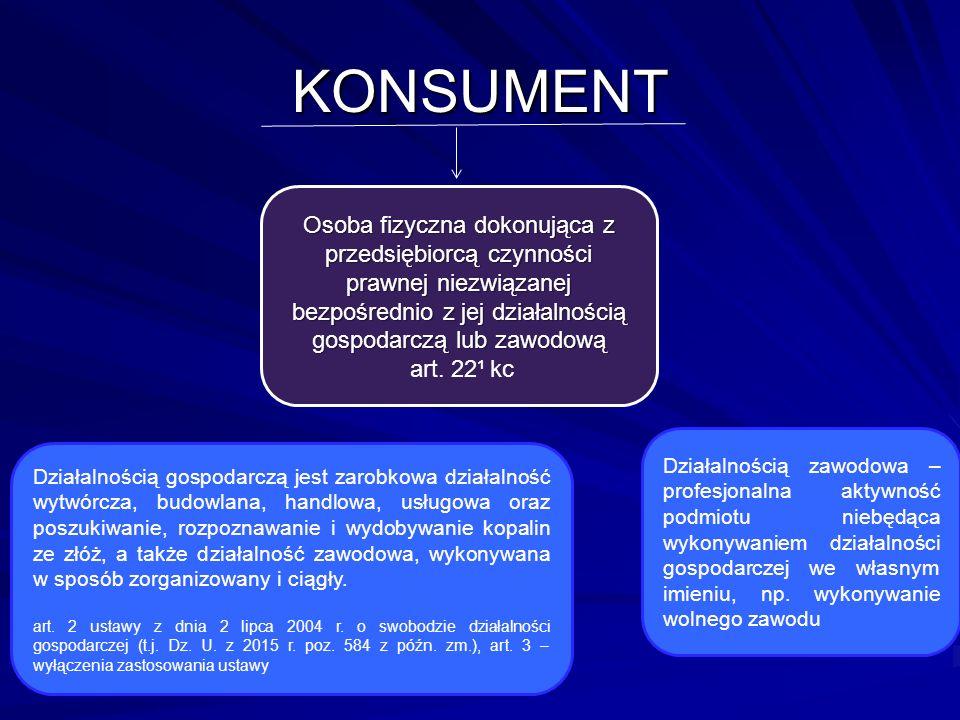 KONSUMENT Osoba fizyczna dokonująca z przedsiębiorcą czynności prawnej niezwiązanej bezpośrednio z jej działalnością gospodarczą lub zawodową.