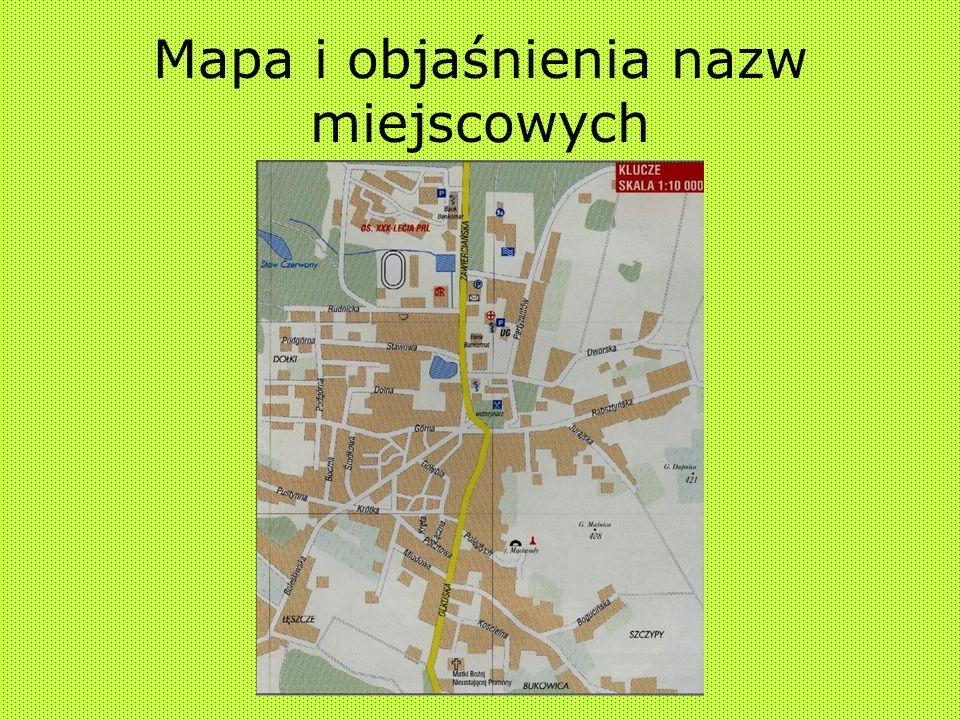 Mapa i objaśnienia nazw miejscowych