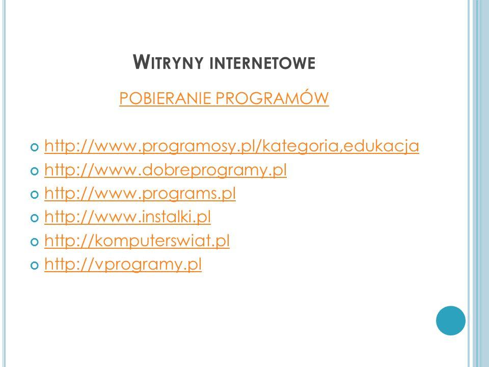 Witryny internetowe POBIERANIE PROGRAMÓW