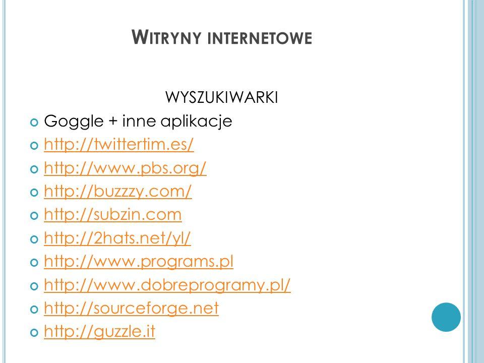 Witryny internetowe WYSZUKIWARKI Goggle + inne aplikacje
