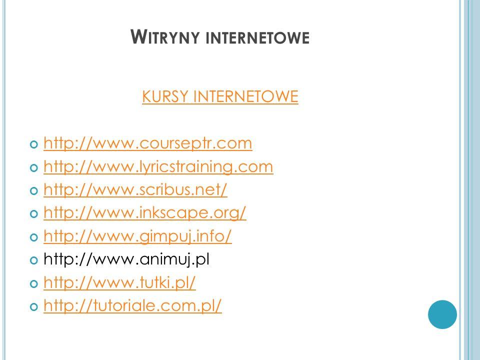 Witryny internetowe KURSY INTERNETOWE http://www.courseptr.com