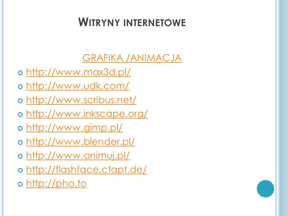 Witryny internetowe GRAFIKA /ANIMACJA http://www.max3d.pl/