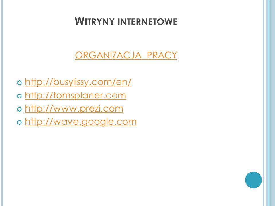 Witryny internetowe ORGANIZACJA PRACY http://busylissy.com/en/