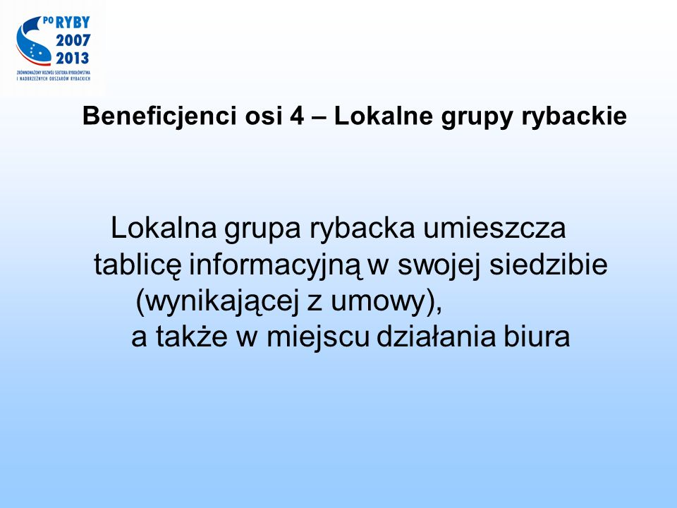 Beneficjenci osi 4 – Lokalne grupy rybackie