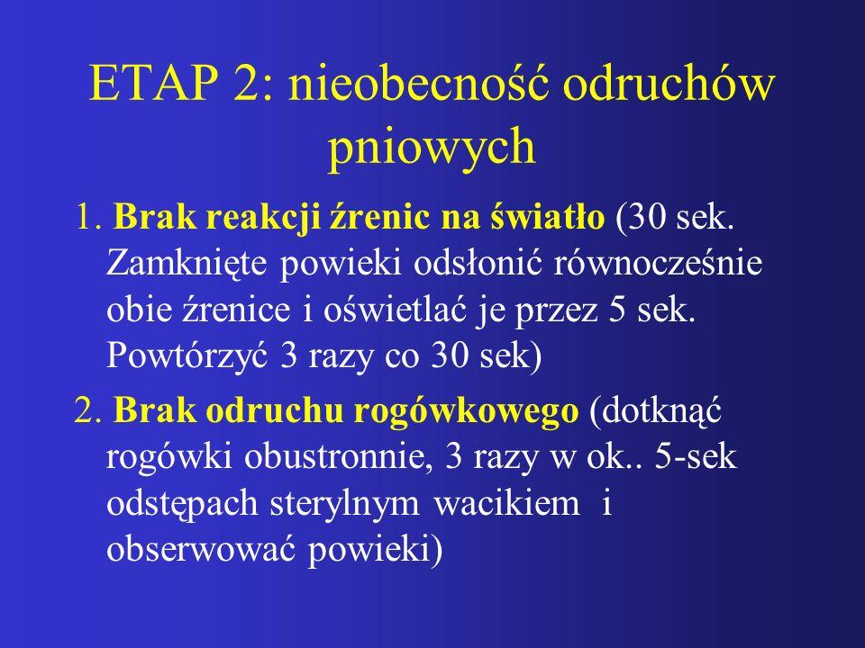 ETAP 2: nieobecność odruchów pniowych