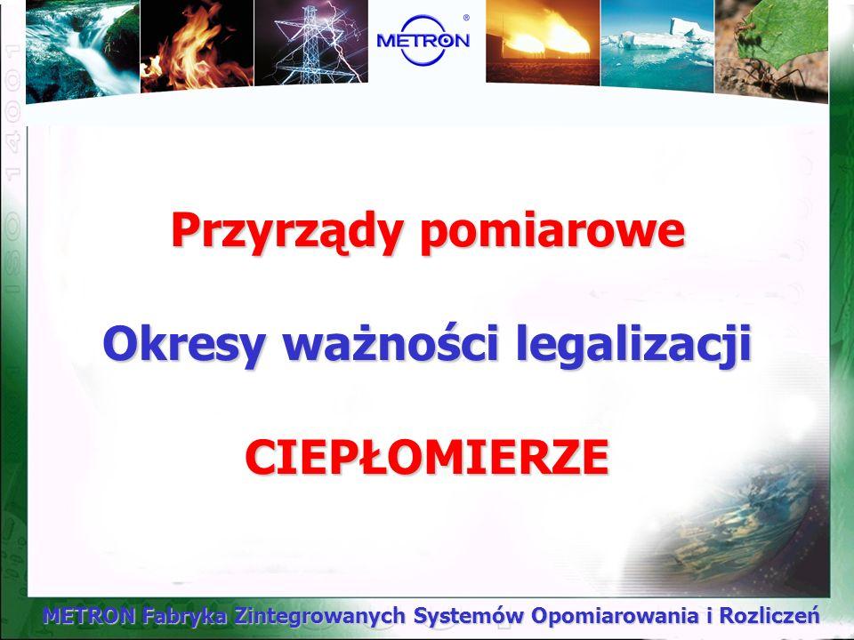 Przyrządy pomiarowe Okresy ważności legalizacji CIEPŁOMIERZE