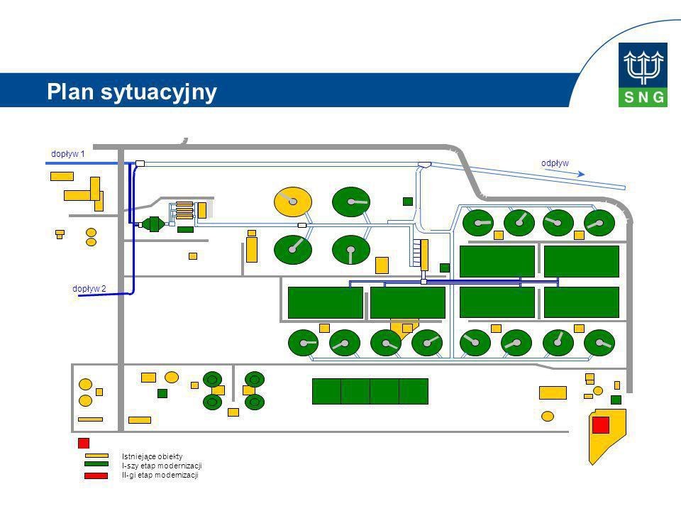 Plan sytuacyjny dopływ 1 odpływ dopływ 2 Istniejące obiekty