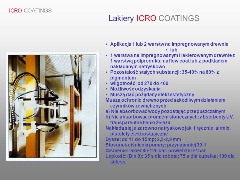 Lakiery ICRO COATINGS Aplikacja 1 lub 2 warstw na impregnowanym drewnie. lub.