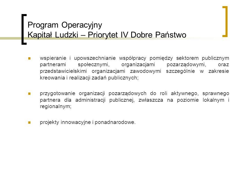 Program Operacyjny Kapitał Ludzki – Priorytet IV Dobre Państwo