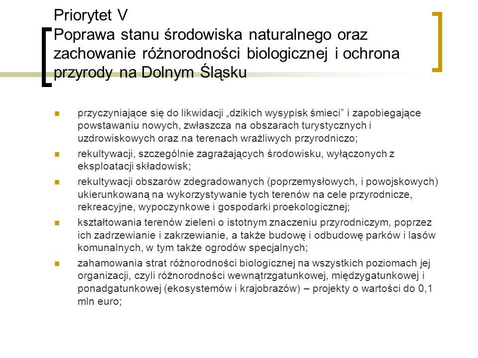 Priorytet V Poprawa stanu środowiska naturalnego oraz zachowanie różnorodności biologicznej i ochrona przyrody na Dolnym Śląsku