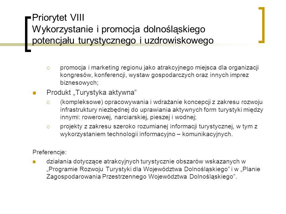 Priorytet VIII Wykorzystanie i promocja dolnośląskiego potencjału turystycznego i uzdrowiskowego