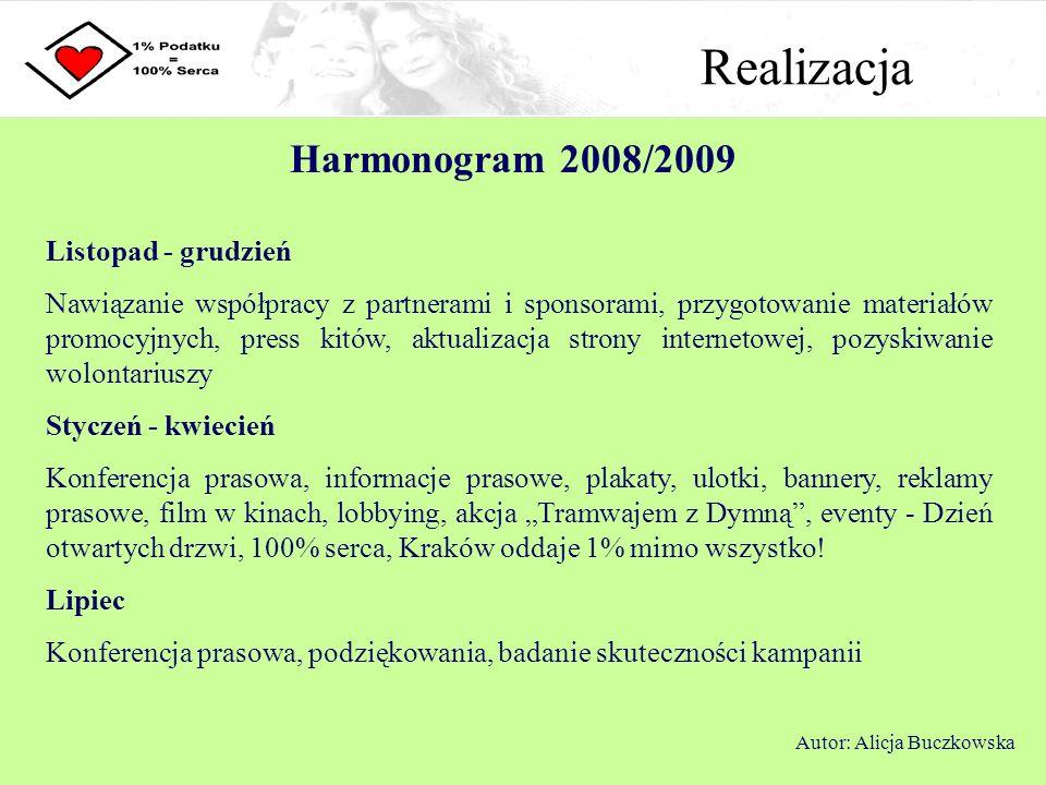 Realizacja Harmonogram 2008/2009 Listopad - grudzień