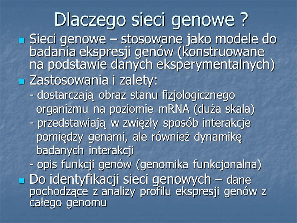 Dlaczego sieci genowe Sieci genowe – stosowane jako modele do badania ekspresji genów (konstruowane na podstawie danych eksperymentalnych)