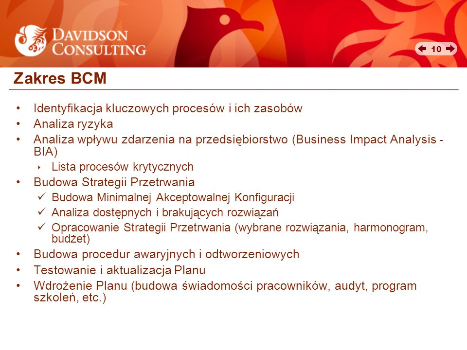 Zakres BCM Identyfikacja kluczowych procesów i ich zasobów