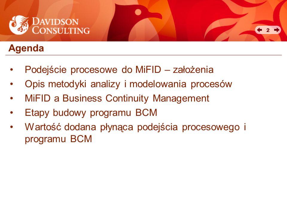 Agenda Podejście procesowe do MiFID – założenia. Opis metodyki analizy i modelowania procesów. MiFID a Business Continuity Management.