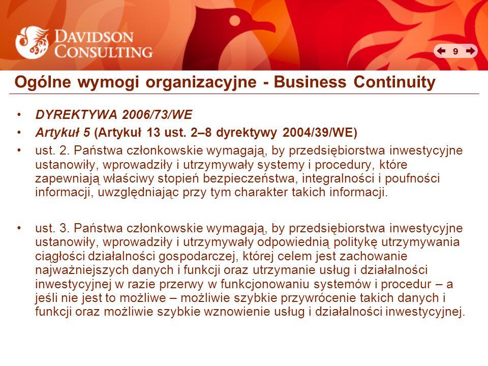 Ogólne wymogi organizacyjne - Business Continuity