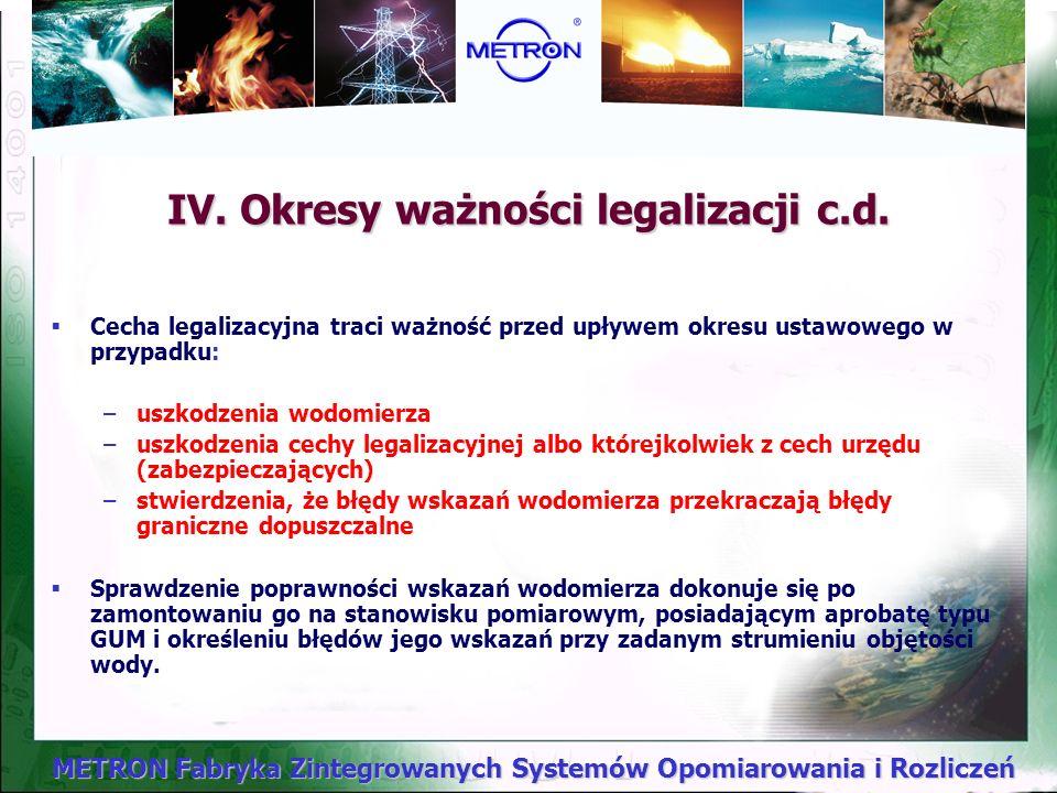 IV. Okresy ważności legalizacji c.d.