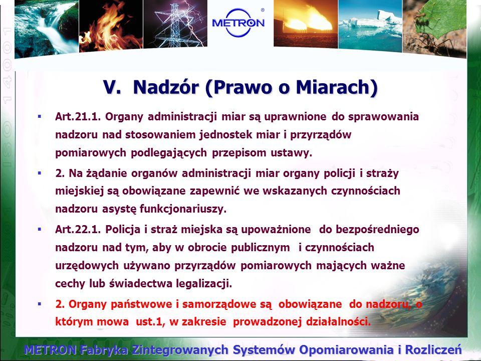 V. Nadzór (Prawo o Miarach)