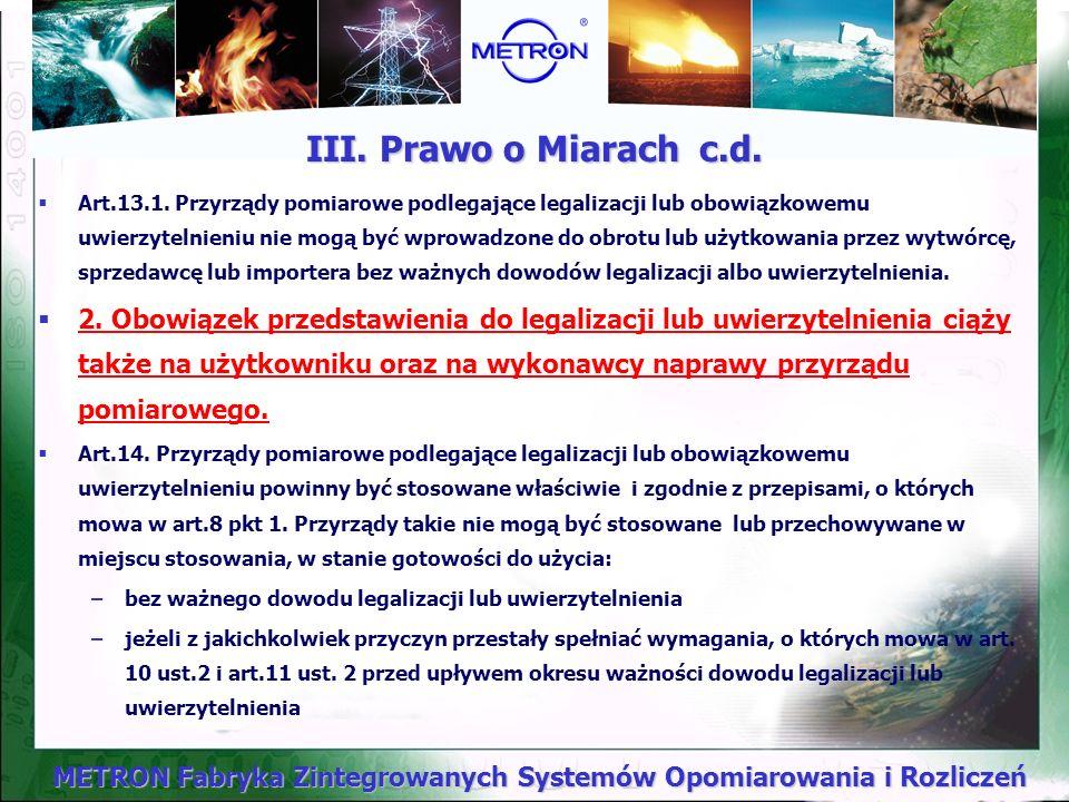 III. Prawo o Miarach c.d.