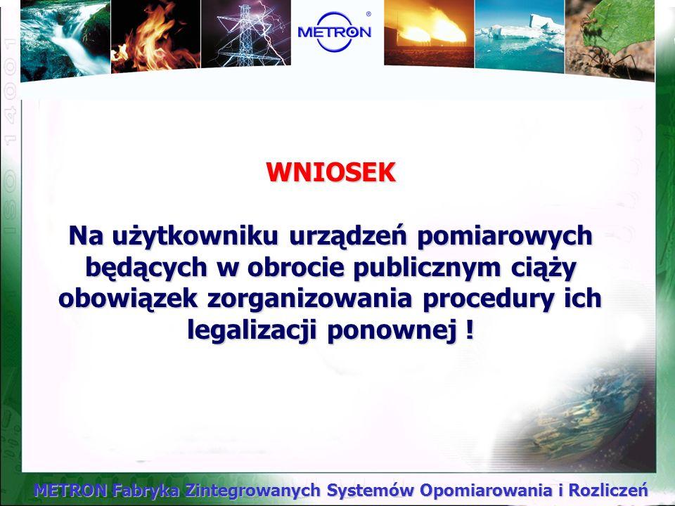 WNIOSEK Na użytkowniku urządzeń pomiarowych będących w obrocie publicznym ciąży obowiązek zorganizowania procedury ich legalizacji ponownej !