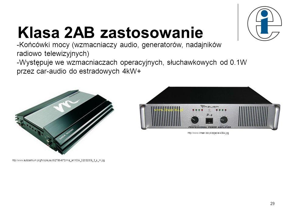Klasa 2AB zastosowanie Końcówki mocy (wzmacniaczy audio, generatorów, nadajników radiowo telewizyjnych)